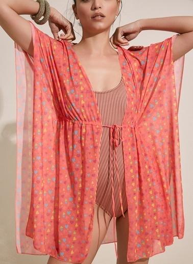 Morhipo Beach Kalp Desenli Kimono Renkli